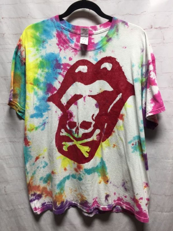 product details: THE ROLLING STONES CLASSIC TIE-DYED T-SHIRT W/ CLASSIC TONGUE DESIGN photo