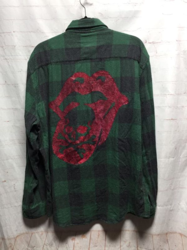 THE ROLLING STONES FLANNEL BUTTON UP SHIRT