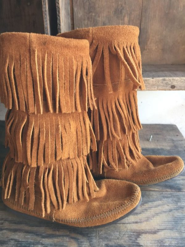 product details: TALL SUEDE MINNETONKA TRIPLE FRINGE MOCCASIN BOOTS photo