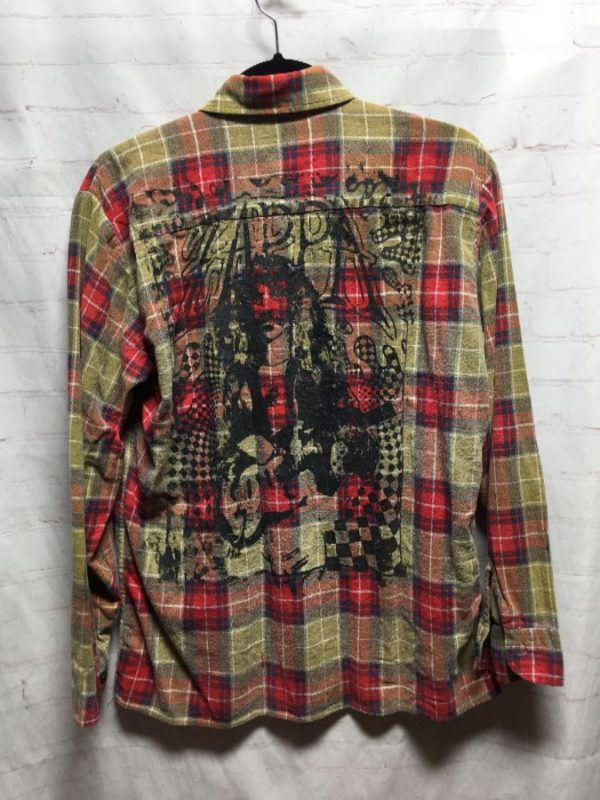 product details: FRANK ZAPPA W/ BACK GRAPHIC PRINT FLANNEL SHIRT photo