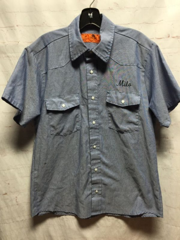 CHAMBRAY MECHANICS SHIRT W/ PEARL SNAPS & EMBROIDERED LETTERING