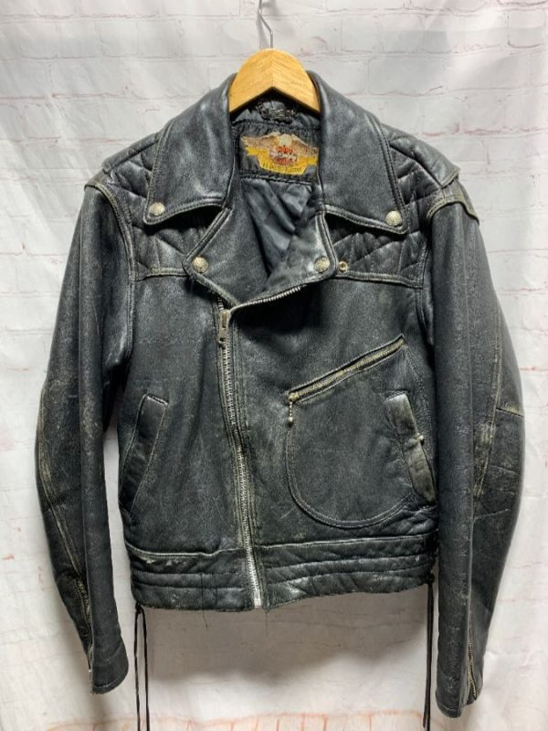 product details: VINTAGE HARLEY DAVIDSON LEATHER MOTORCYCLE JACKET W/ QUILTED SHOULDERS photo