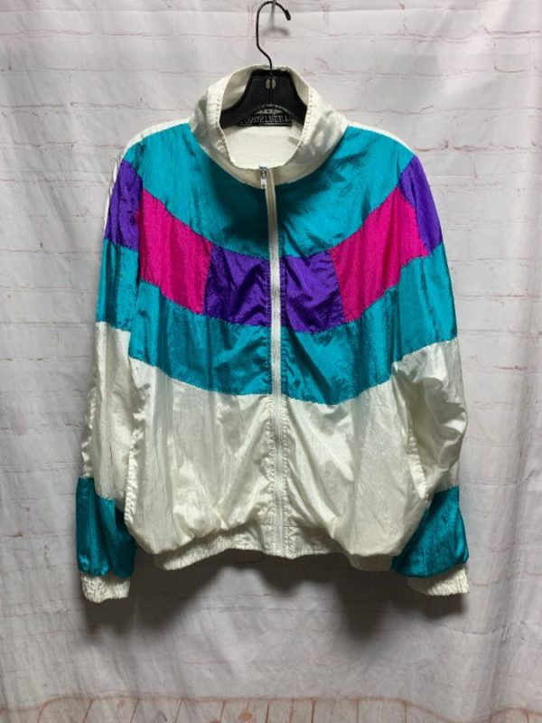 product details: VINTAGE COLOR-BLOCK WINDBREAKER W/ RAD BRIGHT COLOR-WAY photo