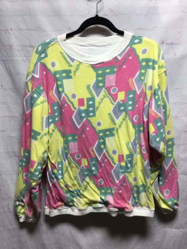 REVERSIBLE PUFFY SWEATSHIRT W/ FUNKY 1980'S ABSTRACT PRINT IN PASTEL COLORS