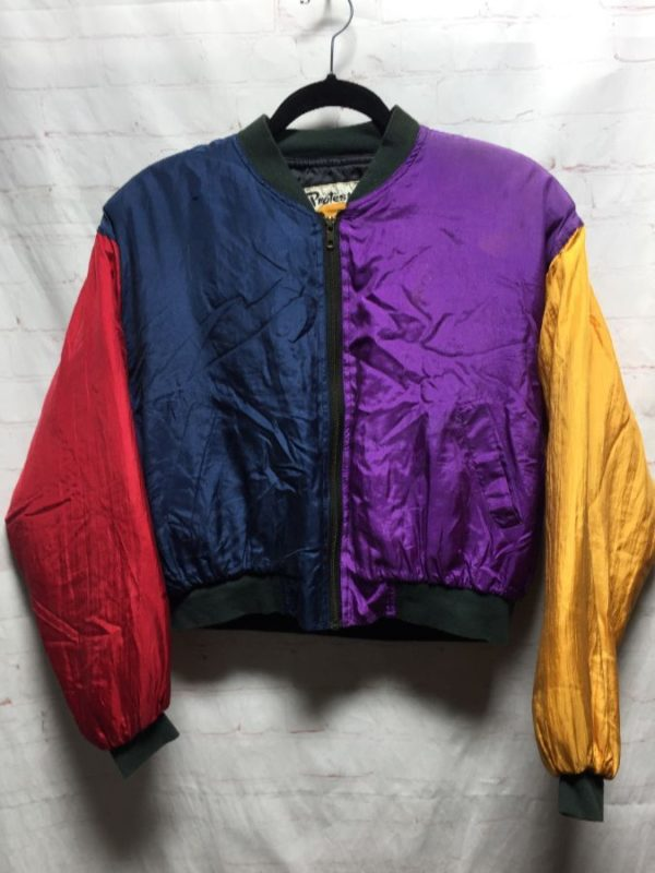 product details: 1990S CROPPED SILK COLOR BLOCK JACKET #AMAZING photo