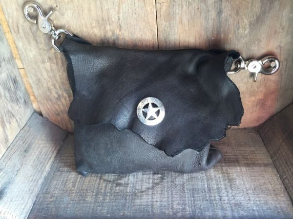 product details: GENUINE LEATHER SIDE POUCH/FANNY PACK W/ STAR CONCHO SNAP photo