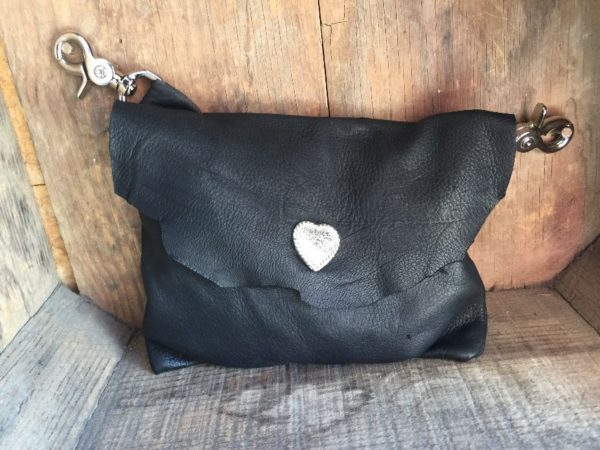 product details: GENUINE LEATHER SIDE POUCH/FANNY PACK W/ HEART CONCHO SNAP photo