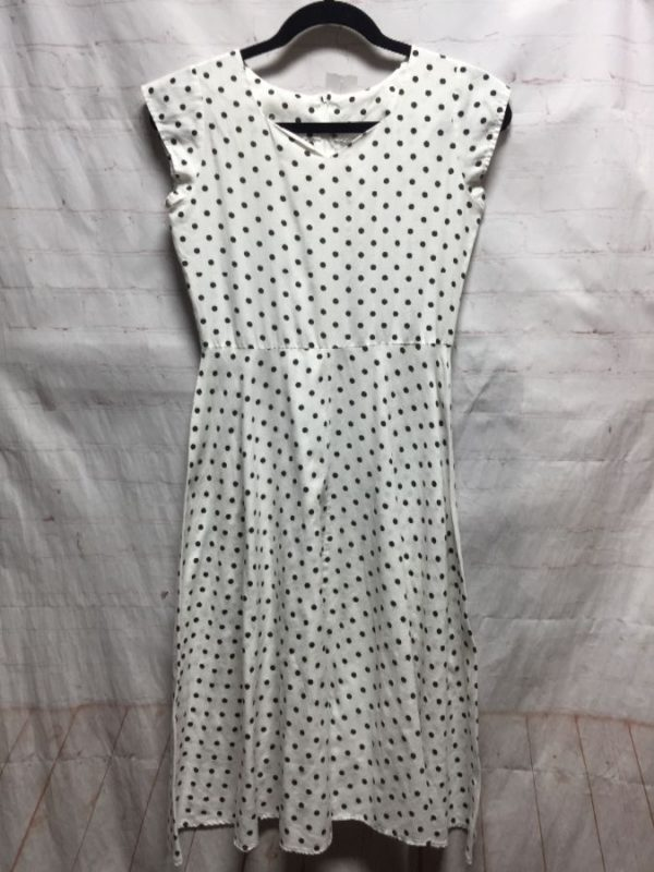 product details: RETRO DRESS W/ CAP SLEEVES & POLKA-DOT PRINT COTTON photo