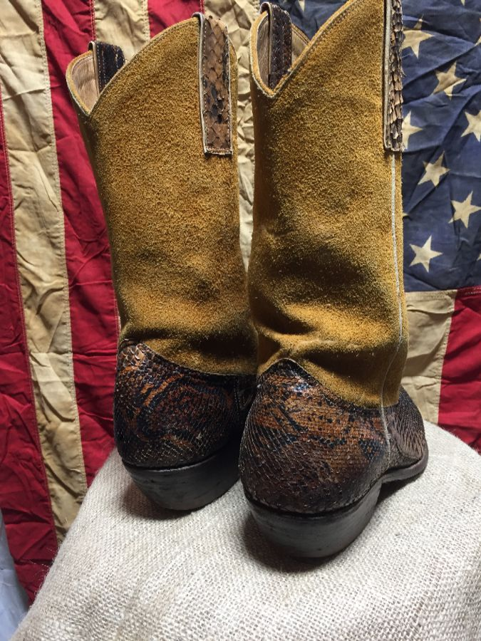 af17bca10fa TWO TONED VINTAGE AUTHENTIC SNAKESKIN AND SUEDE COWBOY BOOTS