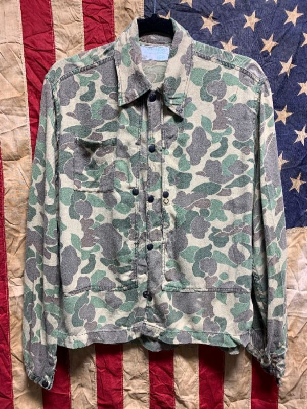 product details: 1950S SUPER THIN 100% COTTON CAMOUFLAGE SHIRT OXIDIZED BRASS SNAP BUTTONS SMALL FIT - AS IS photo