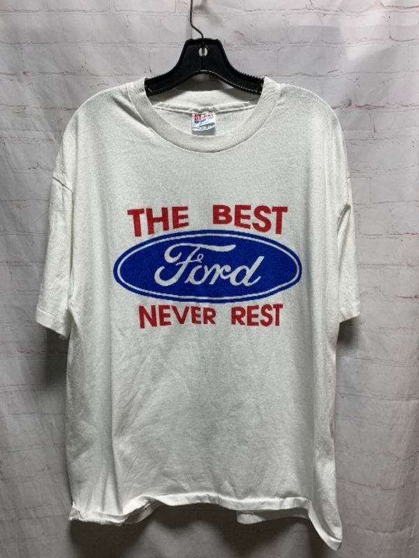 product details: T-SHIRT W/ FORD LOGO & THE BEST NEVER RESTS photo