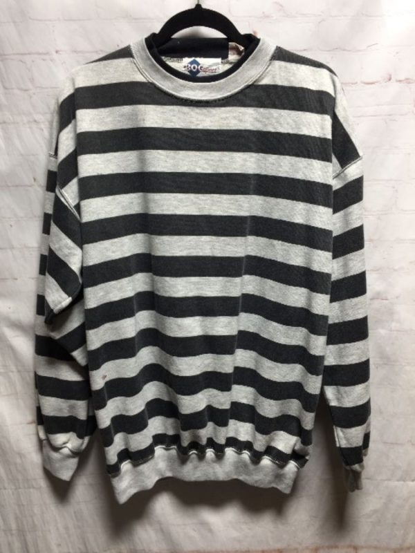 product details: HORIZONTAL STRIPED RINGER CREW-NECK PULLOVER SWEATSHIRT photo