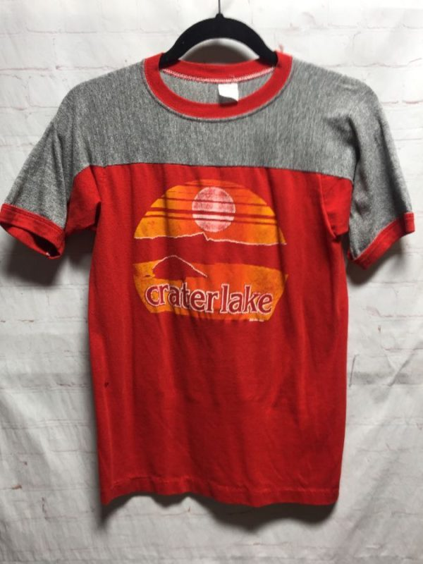 product details: RETRO 1970'S RINGER TEE W/ CRATER LAKE & SUNSET GRAPHIC photo