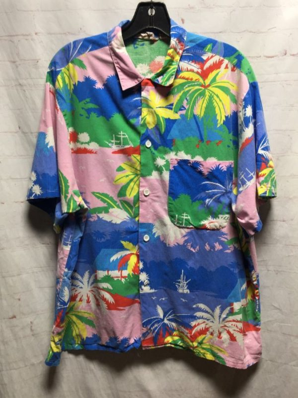 product details: VINTAGE COTTON PASTEL COLORED HAWAIIAN PRINT SHIRT photo