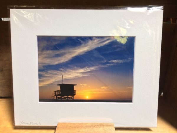 product details: LIFEGUARD TOWER SUNSET MOUNTED PHOTOGRAPH photo