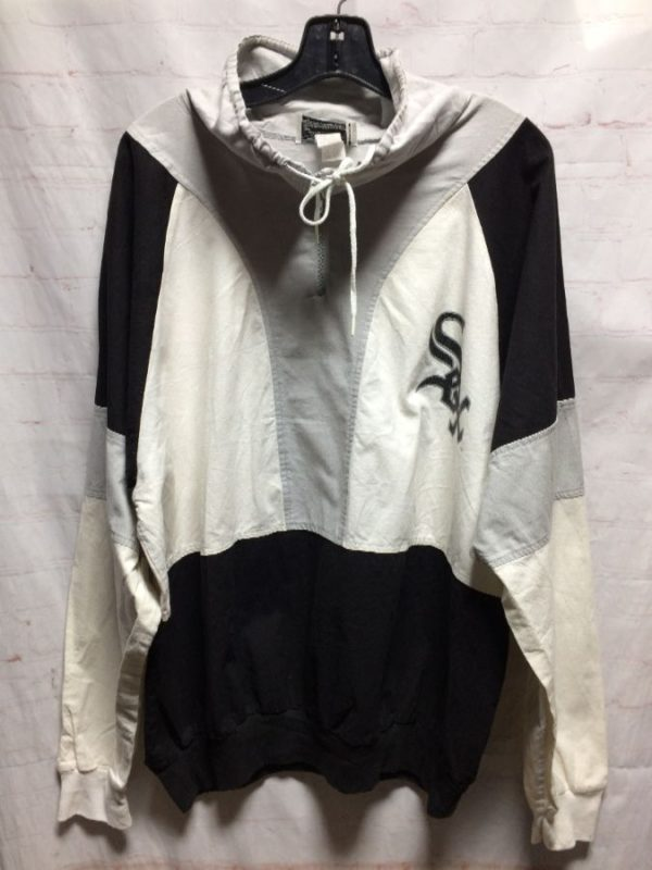 product details: MLB CHICAGO WHITE SOX 1/4 ZIP-UP COTTON WINDBREAKER W/ RIBBED CUFFS photo