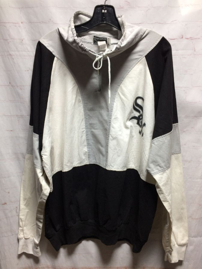 sale retailer 32a39 5f46f MLB CHICAGO WHITE SOX 1/4 ZIP-UP COTTON WINDBREAKER W/ RIBBED CUFFS