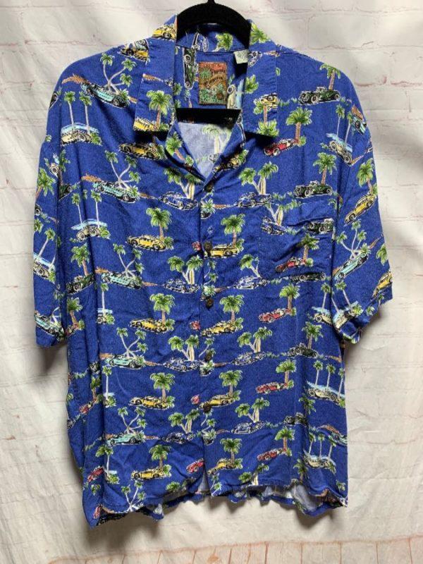 product details: RETRO 1990'S VINTAGE RAYON  HAWAIIAN SHIRT W/ CAR PRINT photo