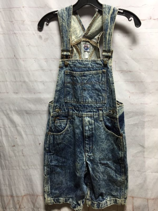 product details: 1980'S DENIM OVERALL SHORTS W/ ACID WASH photo