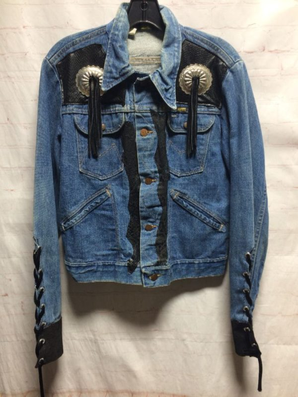 product details: CUSTOM MADE DENIM JACKET W/ CONCHOS & LEATHER TASSELS photo