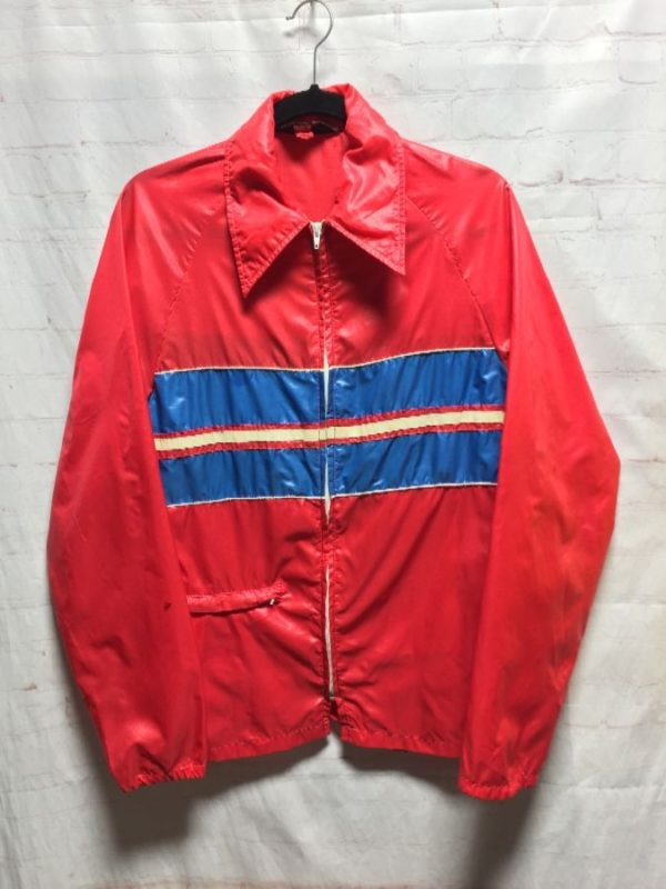 product details: ZIP-UP WINDBREAKER - FOLDS INTO BACK POUCH W/ COLOR-BLOCK DESIGN photo