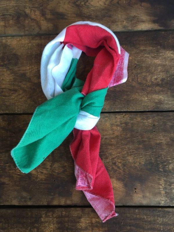 product details: VINTAGE 50/50 BANDANA W/ ITALIAN FLAG COLORS photo