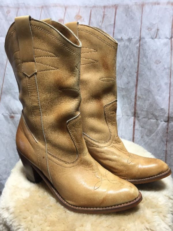 product details: BUTTER SOFT LEATHER COWBOY BOOTS W/ STACKED RIDING HEEL photo