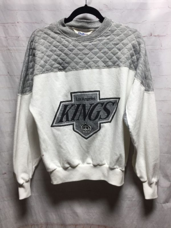 product details: LA KINGS CREW-NECK SWEATSHIRT W/ QUILTED SHOULDER DETAIL photo