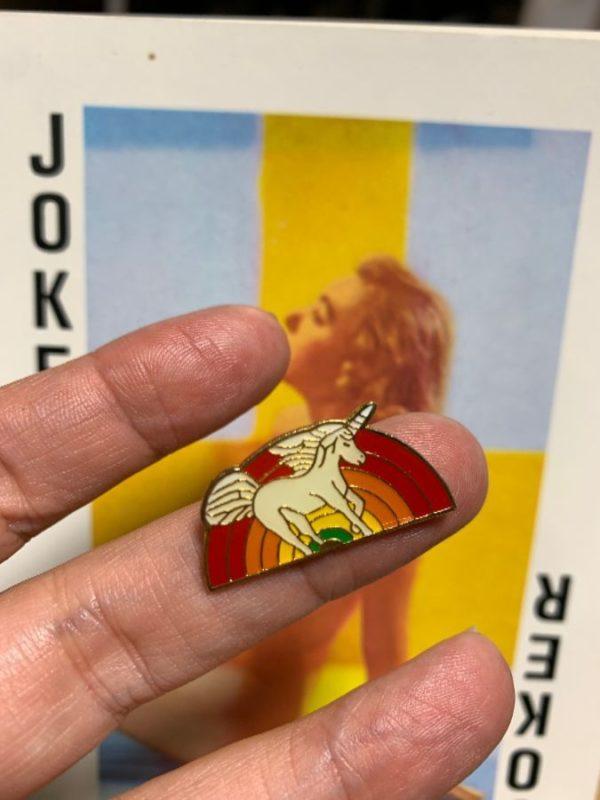 product details: BW PIN- Rainbow Pin White Unicorn Running Pin photo