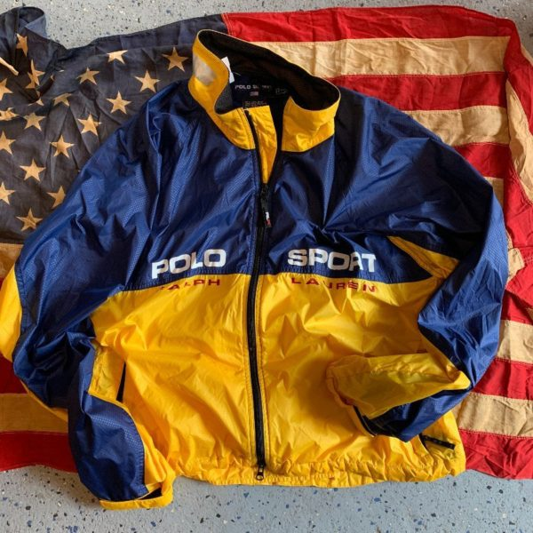 product details: POLO SPORT COLOR BLOCK WINDBREAKER JACKET LARGE SPELL OUT LOGOS photo