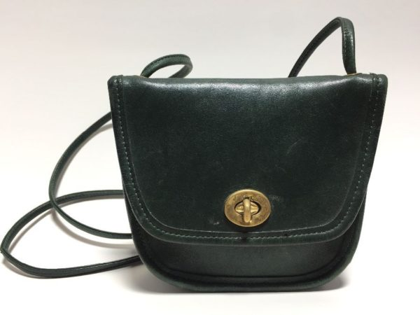 product details: VINTAGE 1990S SMALL MINI LEATHER COACH BRAND CROSSBODY PURSE WITH BRASS HARDWARE - as is photo