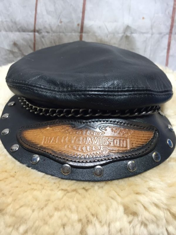 product details: LEATHER HARLEY DAVIDSON BIKER HAT W/ LEATHER LOGO/CHAIN & STUDS photo