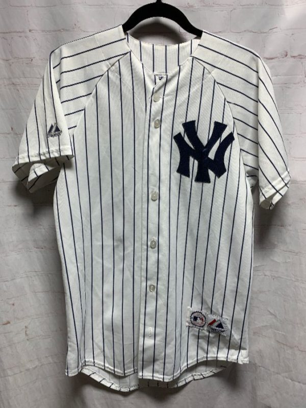 MLB NEW YORK YANKEES PINSTRIPE BASEBALL JERSEY # 62 CHAMBERLAIN AS-IS