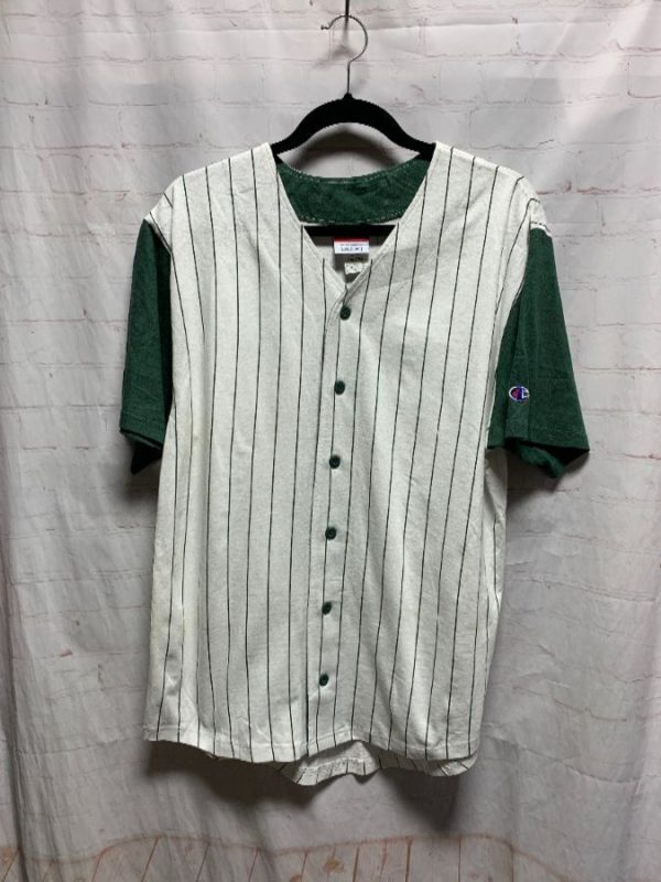 product details: BASEBALL JERSEY W/ CONTRASTING SLEEVES & PIN-STRIPES photo