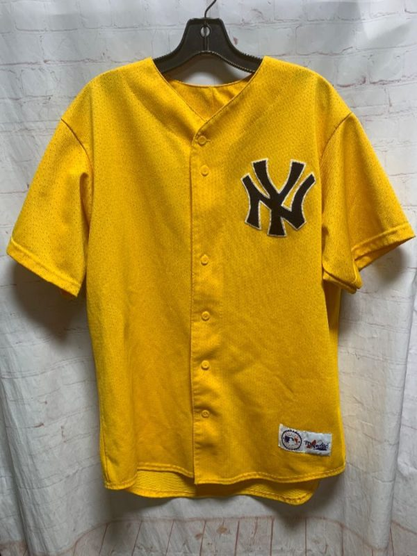 MLB NEW YORK YANKEES BASEBALL JERSEY YELLOW COLORWAY AS-IS