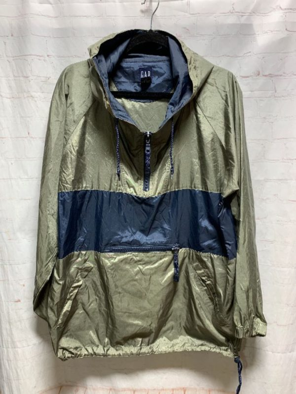 product details: GAP LOGO LETTERED ON BACK W/ COLOR-BLOCK DESIGN PULLOVER WINDBREAKER photo