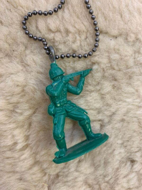 product details: VINTAGE NECKLACE W/ TOY ARMY MAN PENDANT ON BALL-CHAIN photo