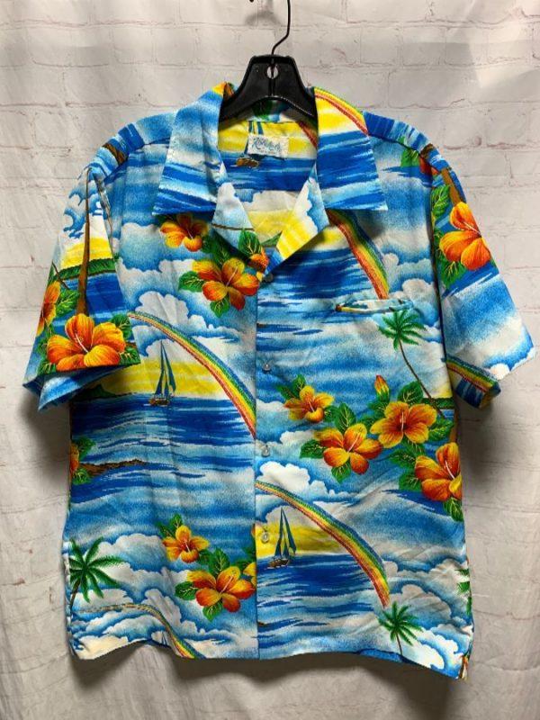 product details: BRIGHT COLORED ISLAND & RAINBOW PRINT POLYESTER HAWAIIAN SHIRT photo