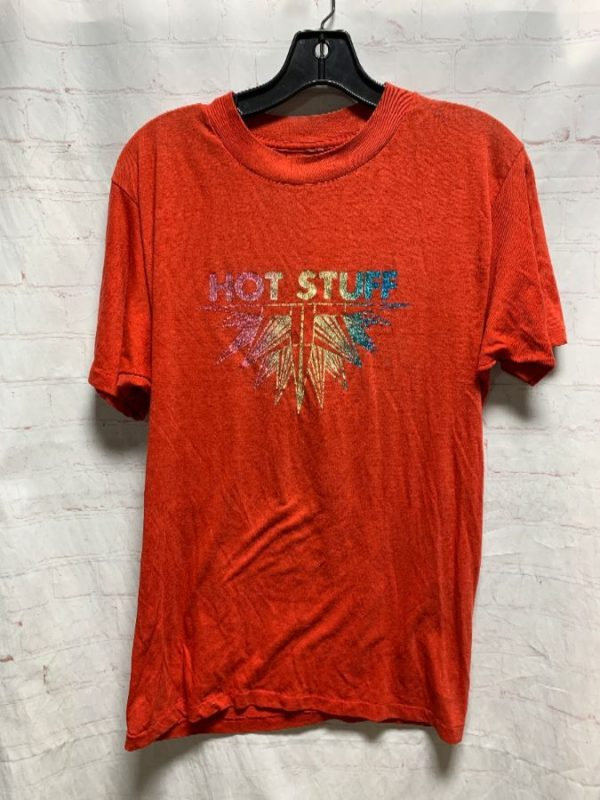 product details: SUPER THIN RETRO T-SHIRT W/ EPIC HOT STUFF GRAPHIC IN GLITTER INK photo