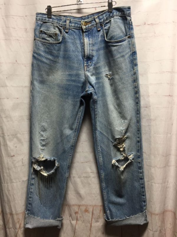 product details: KIRKLAND DISTRESSED DENIM JEANS W/ CUT-OFF HEMS & BEADED FRINGE ON KNEE photo