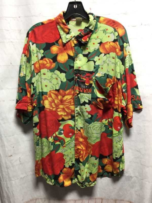 product details: RAD 1990S SANTA MONICA FLORAL BUTTON UP RAYON SHIRT - AS IS photo