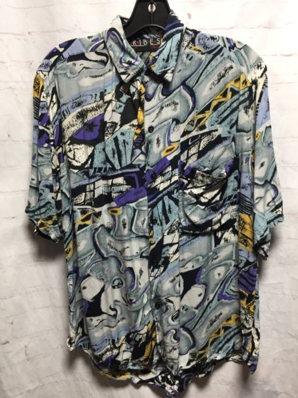 product details: 1990'S ABSTRACT ART PRINT RAYON SHIRT photo