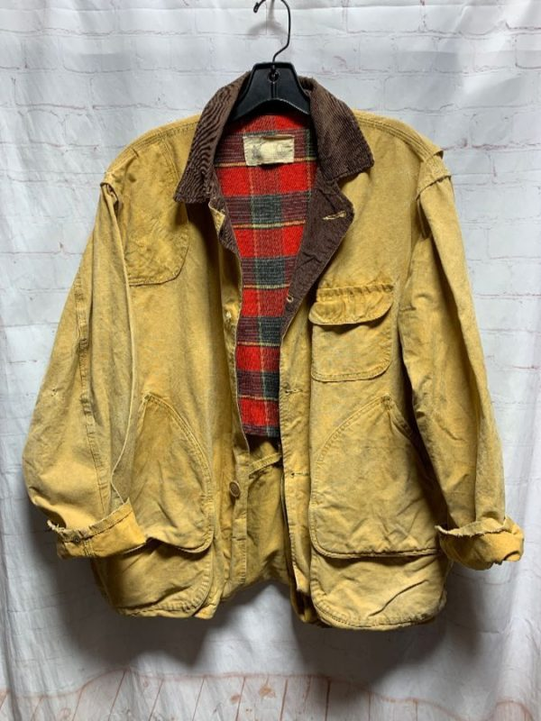 product details: HEAVILY DISTRESSED CANVAS HUNTING JACKET CORDUROY COLLAR W/ PLAID FLANNEL LINING photo