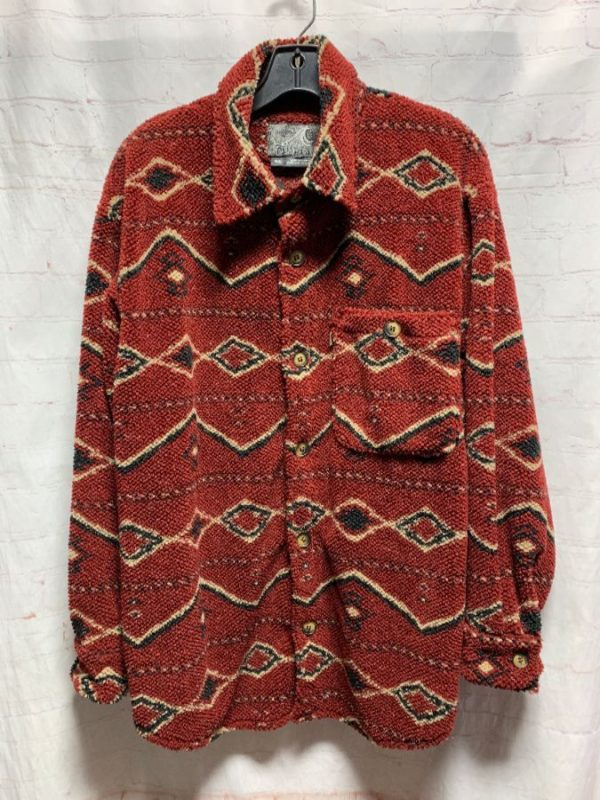 product details: HEAVY/SOFT WOVEN FLANNEL SHIRT W/ ETHNIC TRIBAL PATTERN photo