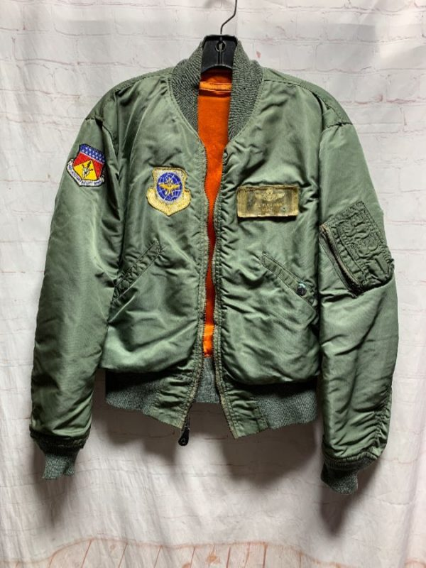 product details: VINTAGE MILITARY BOMBER JACKET W/ EMBROIDERED PATCHES photo