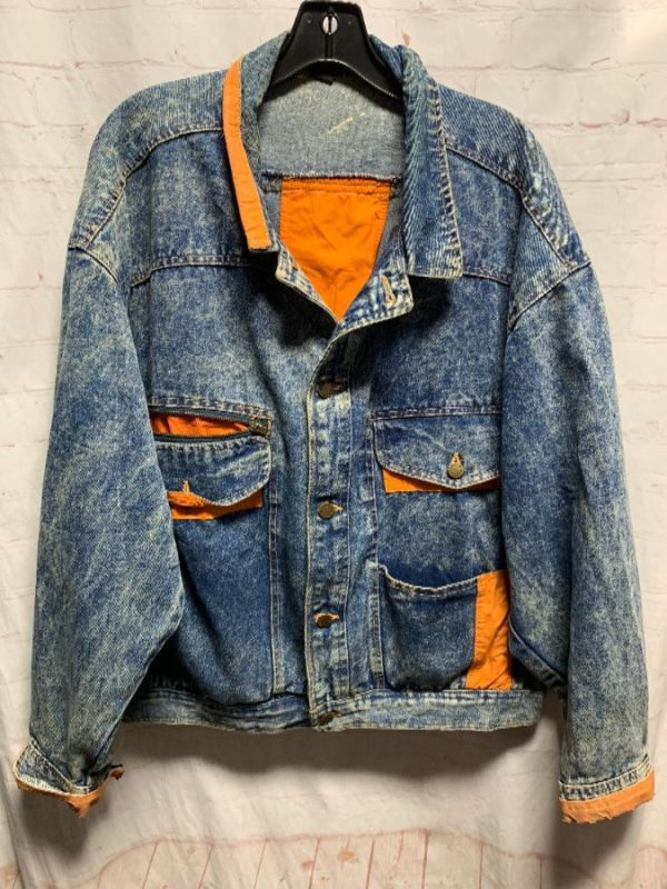 product details: AMAZING 1980-90S ACID WASH ORANGE POP DENIM JACKET AS-IS photo