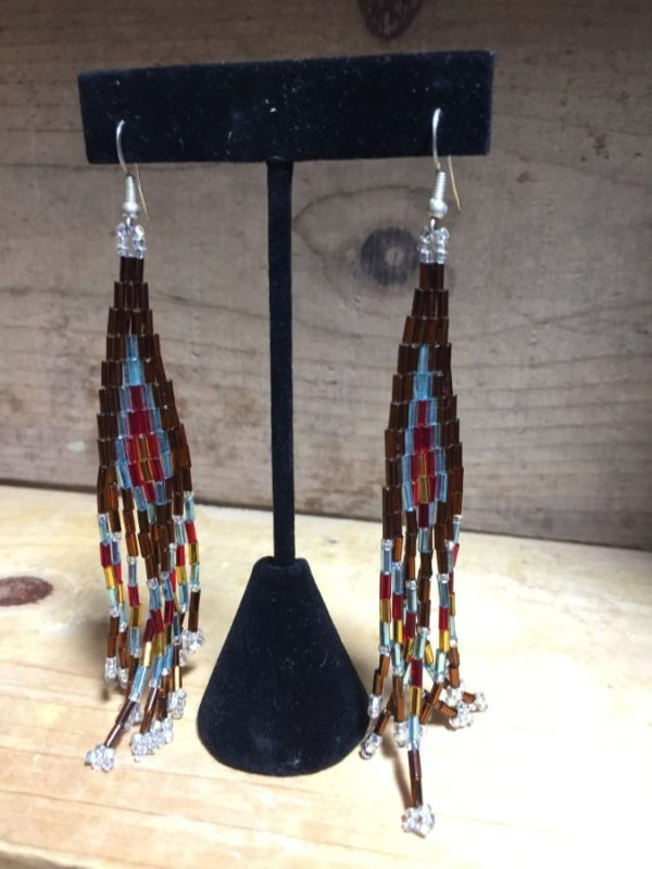 product details: HAND-BEADED NATIVE AMERICAN STYLE CHANDELIER EARRING W/ STERLING SILVER FISH HOOK photo