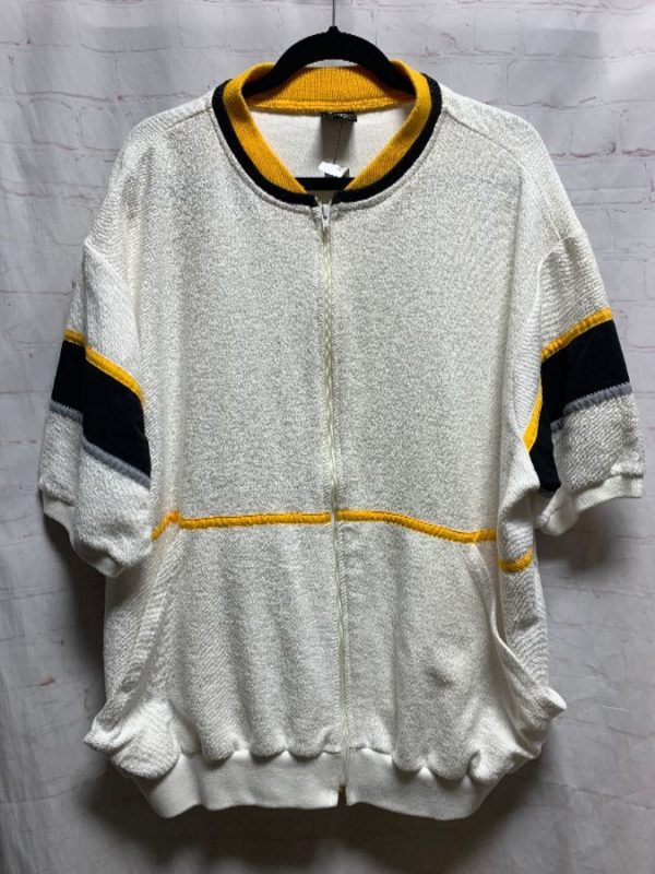 product details: TERRYCLOTH SHIRT ZIP-UP W/ STRIPED TRIM & SLEEVES photo