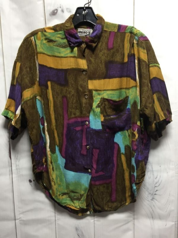product details: 1990'S ABSTRACT PRINT RAYON BLOUSE W/ SHOULDER PADS photo