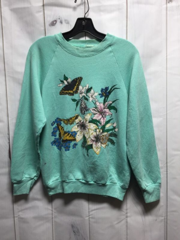 product details: BUTTERFLY & FLORAL PRINT PULLOVER SWEATSHIRT photo